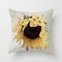 sunflower Throw Pillows featuring sunflower by Bonnie Jakobsen-Martin
