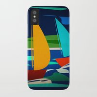 sailing iPhone & iPod Cases featuring sailing by laika in cosmos