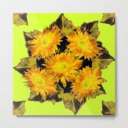 Decorative Chartreuse Golden Flowers Leaves Black Art Metal Print