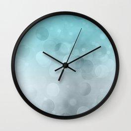 Aqua Turquoise Grey Soft Gradient Bokeh Lights Wall Clock