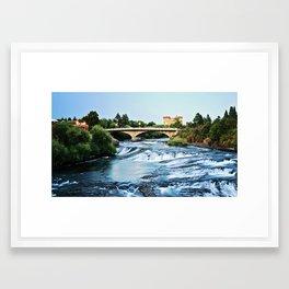 Bridge Over Waterfall Framed Art Print
