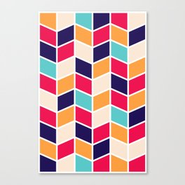 COLORFUL RETRO HERRINGBONE PATTERN Canvas Print