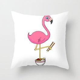 Kawaii Flamingo With Ramen Noodles Throw Pillow