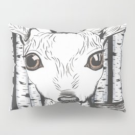 Ink and watercolor black and white doe/deer in the forest Pillow Sham