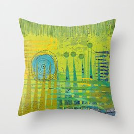Blue Green Abstract Art Collage Throw Pillow