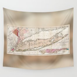 Long Island New York 1842 Mather Map Wall Tapestry