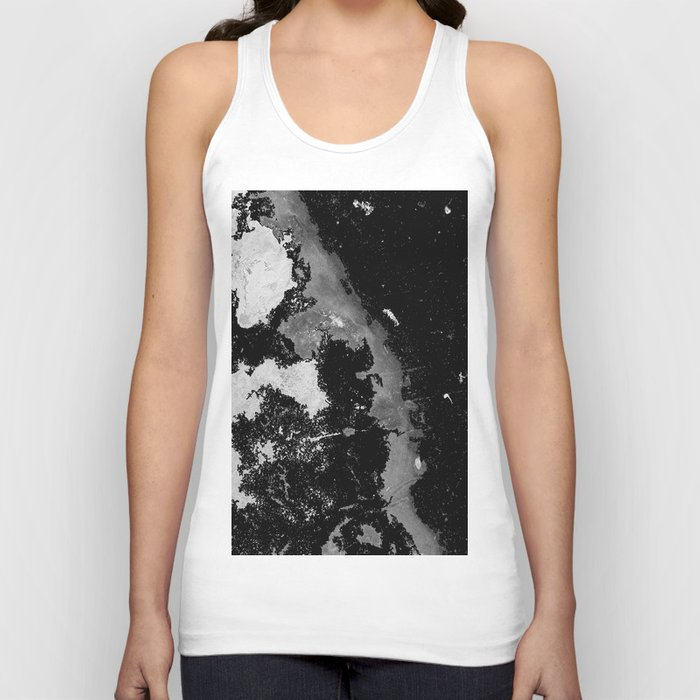 Lost In The Mystery - Abstract, black and white painting Unisex Tank Top