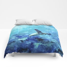 Sea Turtle Into The Deep Blue Comforters
