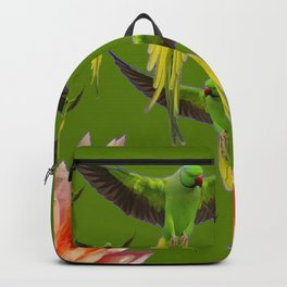FLOCK OF GREEN FLYING FAIRY BIRDS  & PEACH FLOWERS ART Backpack