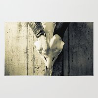 animal skull Area & Throw Rugs featuring Animal Skull I (Duotone) by Digital.Soapbox