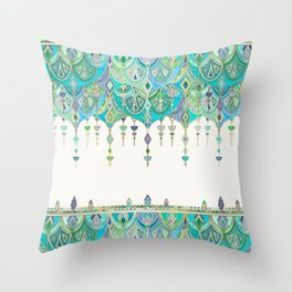 Art Deco Double Drop in Jade and Aquamarine on Cream Throw Pillow
