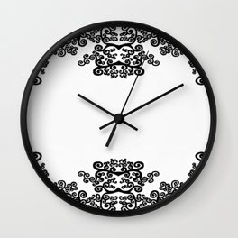 black and white vintage pattern IV Wall Clock