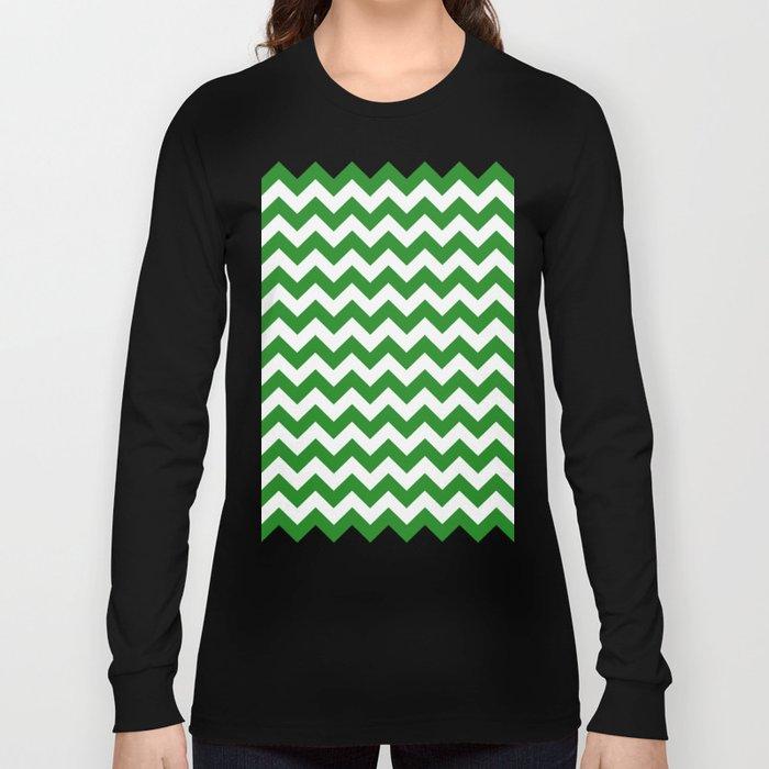 Chevron (Forest Green/White) Long Sleeve T-shirt