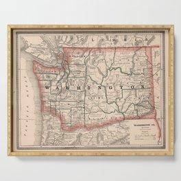 Vintage Map of Washington State (1883) Serving Tray