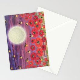 purple sky, fireflies, snails, and poppies Stationery Cards