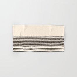 Organic Stripes - Minimalist Textured Line Pattern in Black and Almond Cream Hand & Bath Towel