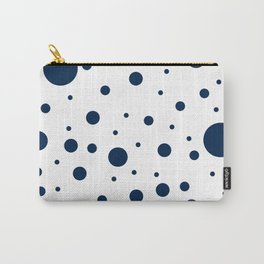 Mixed Polka Dots - Oxford Blue on White Carry-All Pouch