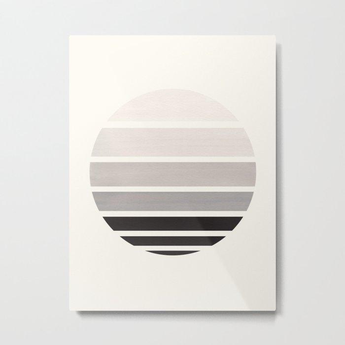 Grey Mid Century Modern Minimalist Circle Round Photo Staggered Sunset Geometric Stripe Design Metal Print