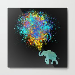 Elephant Colorful Celebration - watercolor splatter Metal Print