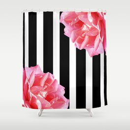 Pink roses on black and white stripes Shower Curtain