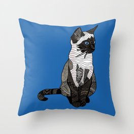 Siamese Cat Zentangle in Blue Throw Pillow