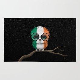 Baby Owl with Glasses and Irish Flag Rug