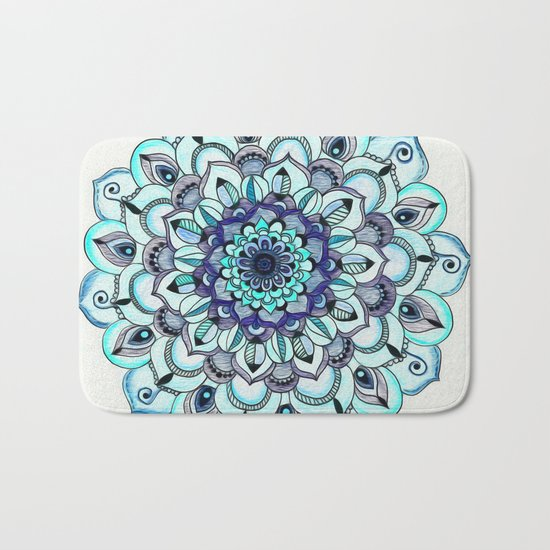 Tide Meets Shore - Blue Mandala Bath Mat