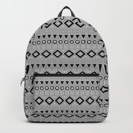 Bohemian Mudcloth Style 2 in Gray and Black Backpack