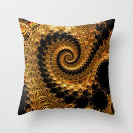 Spiralling into the Golden Vortex Throw Pillow