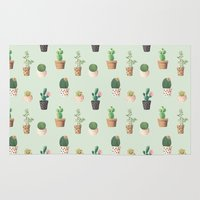 succulents Area & Throw Rugs featuring Succulents  by Tasteful Tatters