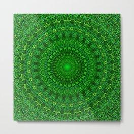 Green Bohemian Mandala Garden Metal Print