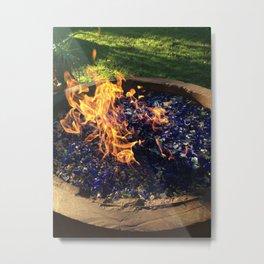 Fire on Blue Metal Print