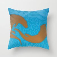 otters Throw Pillows featuring Two Otters by LegendOfZeldy