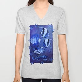 Watercolor fish pattern dark blue Unisex V-Neck