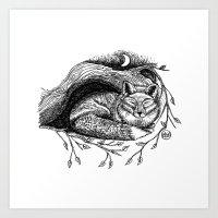 Fox - Black & White Art Print