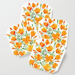 Watercolor California poppies Coaster