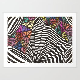 Colorful Black and White Speakers Art Print