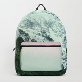Snowy Winter Mountain Landscape with Alpenglow Backpack