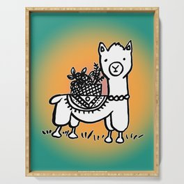 Hand  drawn llamas Serving Tray