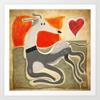 greyhound Art Prints featuring Greyhound by elgaga