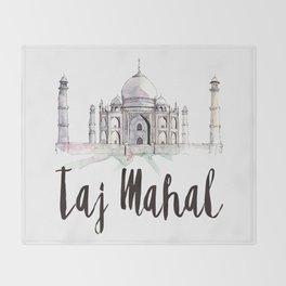 Taj Mahal watercolor Throw Blanket
