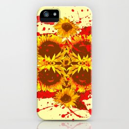 CAUTION: DANGEROUS SUNFLOWERS YELLOW-RED ART iPhone Case
