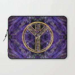 Algiz  Rune Amethyst and Gold Laptop Sleeve