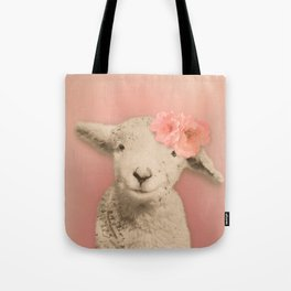 Flower Sheep Girl Portrait, Dusty Flamingo Pink Background Tote Bag