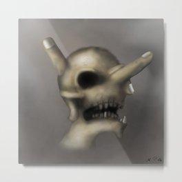 Skull and fingers Metal Print