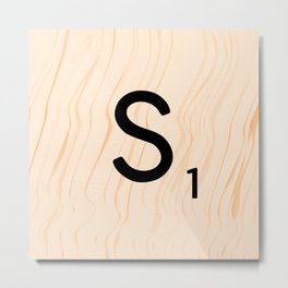 Scrabble Letter S - Large Scrabble Tiles Metal Print