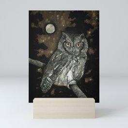 Night Vision // Owl Moon Forest Night Trees Wings Feather Screech Animal Bird Wild Wilderness Mini Art Print