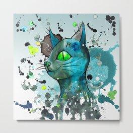 Wild blue grunge cat Metal Print