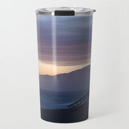 Lifeguard House Sunset - Ocean Sunset, Seascape, Landscape, Scenery, Beautiful Light Lavender Travel Mug