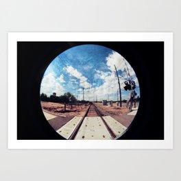 textured tracks circle Art Print